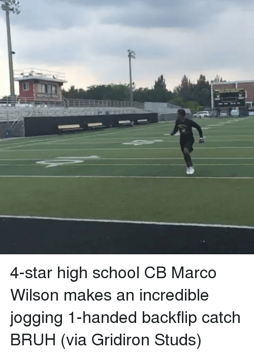 gridiron: r7] 4-star high school CB Marco Wilson makes an incredible jogging 1-handed backflip catch BRUH (via Gridiron Studs)