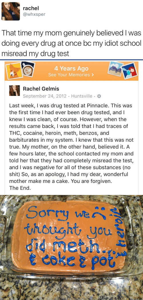Pinnacle: rachel  @whxsper  That time my mom genuinely believed I was  doing every drug at once bc my idiot school  misread my drug test   4 Years Ago  See Your Memories >  Rachel Gelmis  September 24, 2012 Huntsville.  Last week, I was drug tested at Pinnacle. This was  the first time I had ever been drug tested, andl  knew I was clean, of course. However, when the  results came back, I was told that I had traces of  THC, cocaine, heroin, meth, benzos, and  barbiturates in my system. I knew that this was not  true. My mother, on the other hand, believed it. A  few hours later, the school contacted my mom and  told her that they had completely misread the test,  and I was negative for all of these substances (no  shit) So, as an apology, I had my dear, wonderful  mother make me a cake. You are forgiven.  The End   Sorry we  thought you