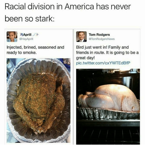 Rodgering: Racial division in America has never  been so stark:  Aprill  Tom Rodgers  @Hey Aprill  @Tom RodgersNews  injected, brined, seasoned and Bird just went in! Family and  ready to smoke.  friends in route. It is going to be a  great day!  pic twitter.com/cxYWTEdBfP