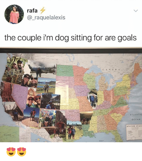 —˜: rafa  @_raquelalexis  the couple i'm dog sitting for are goals  CANA D A  ATLANTIC  OCEAN  UNITED STAT  GULF 😍😍