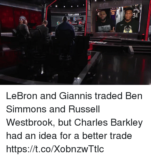 raft: RAFT  23  TEAM LEBRON  BURANT  LEONARD  21 LeBron and Giannis traded Ben Simmons and Russell Westbrook, but Charles Barkley had an idea for a better trade https://t.co/XobnzwTtlc
