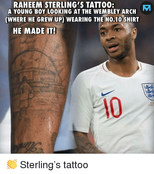 Memes, Tattoo, and Boy: RAHEEM STERLING'S TATTO0:  A YOUNG BOY LOOKING AT THE WEMBLEY ARCH  (WHERE HE GREW UP) WEARING THE NO.10 SHIRT  HE MADE IT  0 👏 Sterling's tattoo