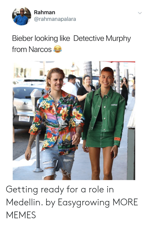 Narcos: Rahman  @rahmanapalara  Bieber looking like Detective Murphy  from Narcos Getting ready for a role in Medellin. by Easygrowing MORE MEMES