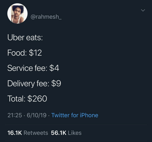 total: @rahmesh_  Uber eats:  Food: $12  Service fee: $4  Delivery fee: $9  Total: $260  21:25 · 6/10/19· Twitter for iPhone  16.1K Retweets 56.1K Likes