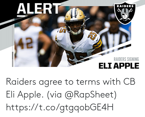 Raiders: Raiders agree to terms with CB Eli Apple. (via @RapSheet) https://t.co/gtgqobGE4H