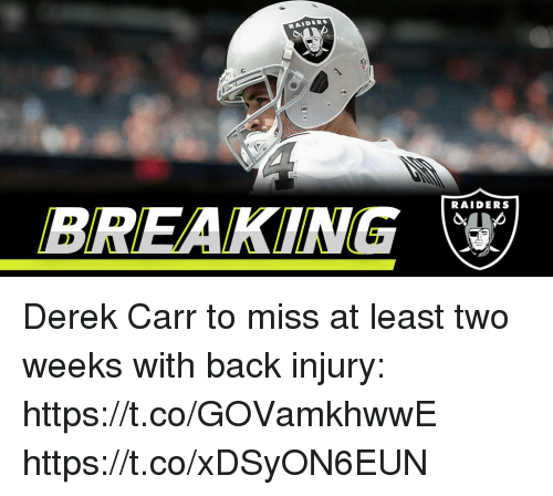 Memes, Raiders, and Back: RAIDERS  BREAKING  RAIDERS Derek Carr to miss at least two weeks with back injury: https://t.co/GOVamkhwwE https://t.co/xDSyON6EUN