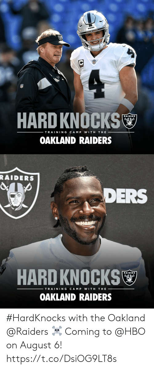 Hbo, Memes, and Oakland Raiders: RAIDERS  HARD KNOCKS  RAIDERS  TRAINING  CAM P  WITH  THE  OAKLAND RAIDERS   RAIDERS  DERS  EQUIPMEN  HARD KNOCKS  RAIDERS  TRAINING  CAM P  WITH  THE  OAKLAND RAIDERS #HardKnocks with the Oakland @Raiders ☠️  Coming to @HBO on August 6! https://t.co/DsiOG9LT8s