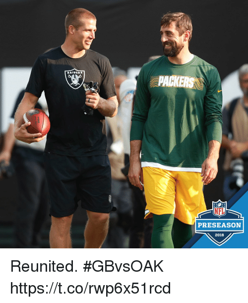 Memes, Nfl, and Nfl Preseason: RAIDERS  NFL  PRESEASON  2018 Reunited. #GBvsOAK https://t.co/rwp6x51rcd