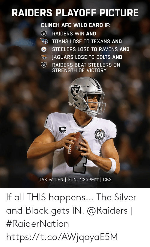 All This: RAIDERS PLAYOFF PICTURE  CLINCH AFC WILD CARD IF:  RAIDERS WIN AND  TITANS LOSE TO TEXANS AND  STEELERS LOSE TO RAVENS AND  JAGUARS LOSE TO COLTS AND  RAIDERS BEAT STEELERS ON  STRENGTH OF VICTORY  RAIDERS  RAIDER  60  ****  OAK vs DEN | SUN, 4:25PMET | CBS If all THIS happens... The Silver and Black gets IN.   @Raiders | #RaiderNation https://t.co/AWjqoyaE5M