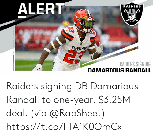 Raiders: Raiders signing DB Damarious Randall to one-year, $3.25M deal. (via @RapSheet) https://t.co/FTA1K0OmCx