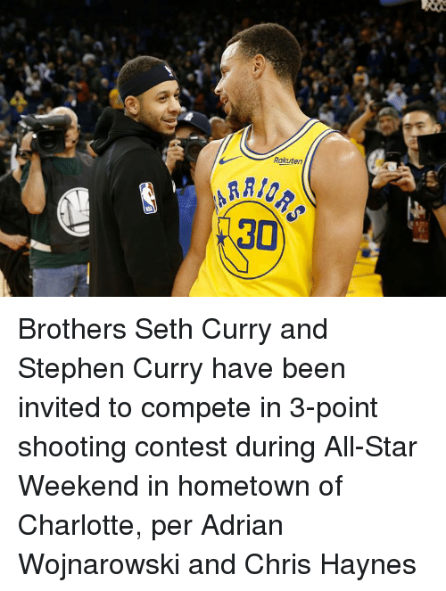 All Star, Seth Curry, and Stephen: Rakuten  30 Brothers Seth Curry and Stephen Curry have been invited to compete in 3-point shooting contest during All-Star Weekend in hometown of Charlotte, per Adrian Wojnarowski and Chris Haynes