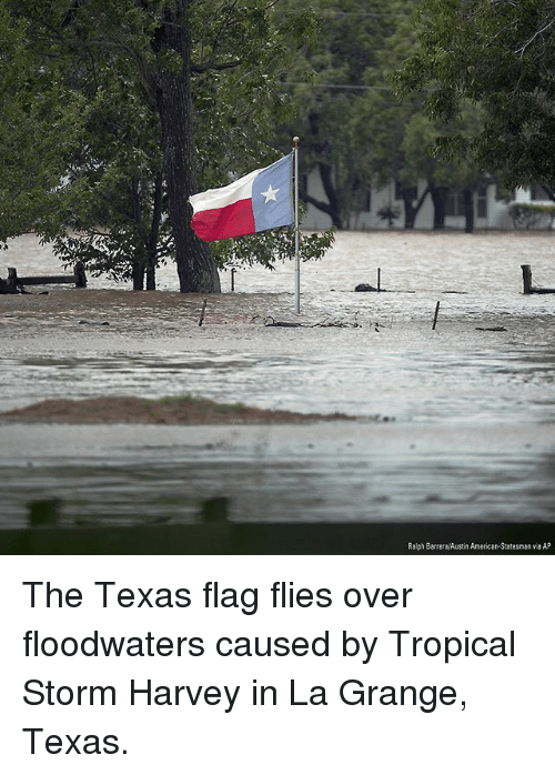 Flagging: Ralph Barrera/Austin American-Statesman via AP The Texas flag flies over floodwaters caused by Tropical Storm Harvey in La Grange, Texas.