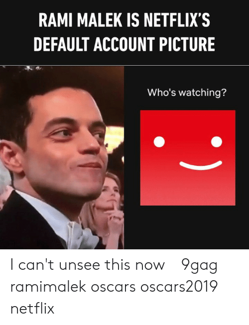 9gag, Memes, and Netflix: RAMI MALEK IS NETFLIX'S  DEFAULT ACCOUNT PICTURE  Who's watching? I can't unsee this now⠀ 9gag ramimalek oscars oscars2019 netflix
