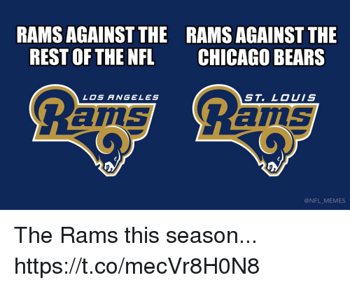 Chicago Bears: RAMS AGAINST THE  REST OF THE NFL  RAMS AGAINST THE  CHICAGO BEARS  LOS ANGELES  ST. LOUIS  ams  ILS  @NFL MEMES The Rams this season... https://t.co/mecVr8H0N8