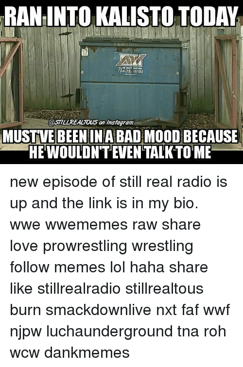 Lol, Love, and Memes: RAN INTO KALISTO TODAY  an MUSTVE BEENIN ABAD  MOODBECAUSE  HEWOULDN'TEVENTALKTOME new episode of still real radio is up and the link is in my bio. wwe wwememes raw share love prowrestling wrestling follow memes lol haha share like stillrealradio stillrealtous burn smackdownlive nxt faf wwf njpw luchaunderground tna roh wcw dankmemes