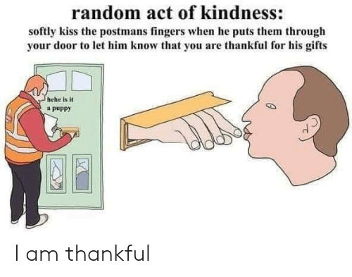 fingers: random act of kindness:  softly kiss the postmans fingers when he puts them through  your door to let him know that you are thankful for his gifts  hehe is it  a puppy I am thankful
