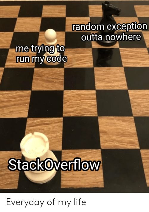 Exception: random exception  outta nowhere  me trying to  run my code  StackOverflow Everyday of my life