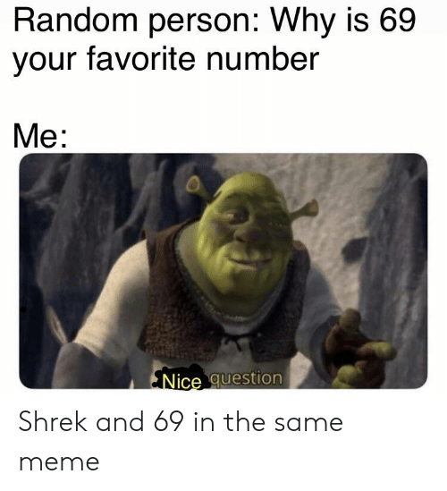 Meme, Shrek, and Nice: Random person: Why is 69  your favorite number  Me:  Nice question Shrek and 69 in the same meme