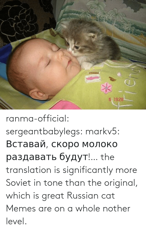 Img Src: ranma-official: sergeantbabylegs:  markv5: Вставай, скоро молоко раздавать будут!…  the translation is significantly more Soviet in tone than the original, which is great    Russian cat Memes are on a whole nother level.