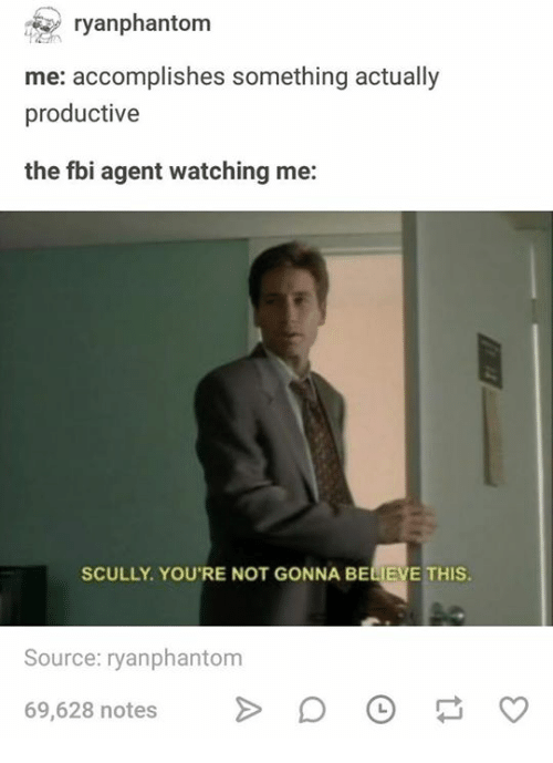 Fbi, Humans of Tumblr, and Source: ranphantom  me: accomplishes something actually  productive  the fbi agent watching me:  SCULLY. YOU'RE NOT GONNA BELIEVE THIS  Source: ryanphantom  69,628 notesDO