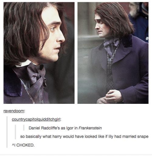 Girl, Humans of Tumblr, and Frankenstein: raoom  end  countrycapitolauidditch  girl:  Daniel Radcliffe's as Igor in Frankenstein  so basically what harry would have looked like if lily had married snape  시 CHOKED.