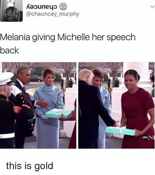 Chauncey: Raouneyo  @chauncey murphy  Melania giving Michelle her speech  back  obcN this is gold
