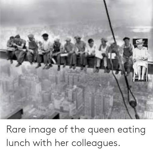 colleagues: Rare image of the queen eating lunch with her colleagues.
