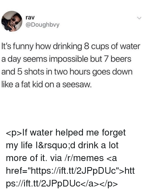 "Drinking, Funny, and Life: rav  @Doughbvy  It's funny how drinking 8 cups of water  a day seems impossible but 7 beers  and 5 shots in two hours goes down  like a fat kid on a seesaw. <p>If water helped me forget my life I'd drink a lot more of it. via /r/memes <a href=""https://ift.tt/2JPpDUc"">https://ift.tt/2JPpDUc</a></p>"
