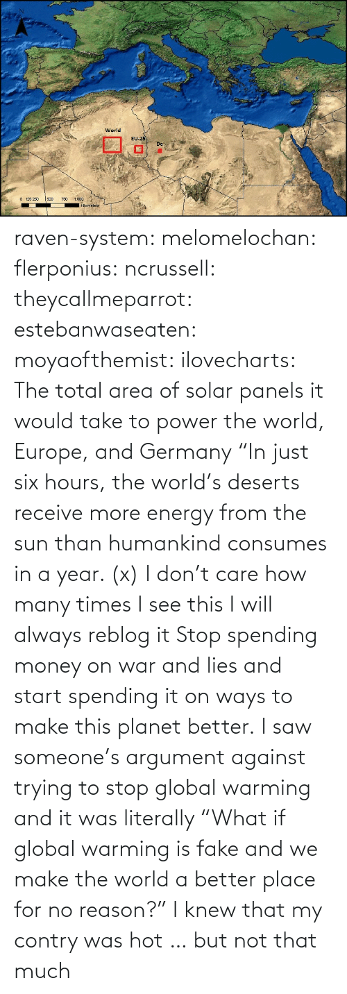 "html: raven-system:  melomelochan:   flerponius:  ncrussell:  theycallmeparrot:  estebanwaseaten:  moyaofthemist:  ilovecharts:  The total area of solar panels it would take to power the world, Europe, and Germany    ""In just six hours, the world's deserts receive more energy from the sun than humankind consumes in a year. (x)  I don't care how many times I see this I will always reblog it  Stop spending money on war and lies and start spending it on ways to make this planet better.   I saw someone's argument against trying to stop global warming and it was literally ""What if global warming is fake and we make the world a better place for no reason?""  I knew that my contry was hot … but not that much"