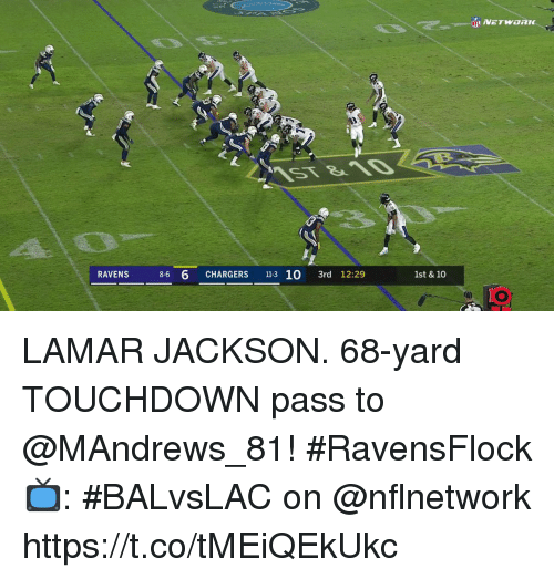 Memes, Chargers, and Ravens: RAVENS 8-6 6 CHARGERS 11-3 10 3rd 12:29  1st & 10 LAMAR JACKSON.  68-yard TOUCHDOWN pass to @MAndrews_81! #RavensFlock  📺: #BALvsLAC on @nflnetwork https://t.co/tMEiQEkUkc