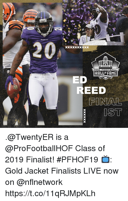 Football, Memes, and Live: RAVENS  PRO FOOTBALL  HALL OF FAME  NTON.OH  ED  REED .@TwentyER is a @ProFootballHOF Class of 2019 Finalist! #PFHOF19  📺: Gold Jacket Finalists LIVE now on @nflnetwork https://t.co/11qRJMpKLh