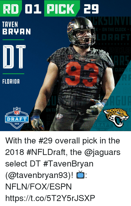 Espn, Memes, and Nfl: RD 01 PICK 29  TAVEN  BRYAN  OT  FLORIDR  NFL  DRAFT  2018 With the #29 overall pick in the 2018 #NFLDraft, the @jaguars select DT #TavenBryan (@tavenbryan93)!  📺: NFLN/FOX/ESPN https://t.co/5T2Y5rJSXP