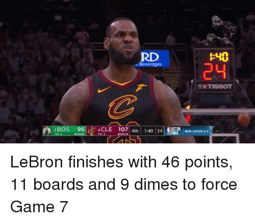dimes: RD  :40  24  Beverages  T TISSOT  2BOS  96 ik4CLE  107   4th   1:40124 SRNA 'İBOS LEADS LeBron finishes with 46 points, 11 boards and 9 dimes to force Game 7