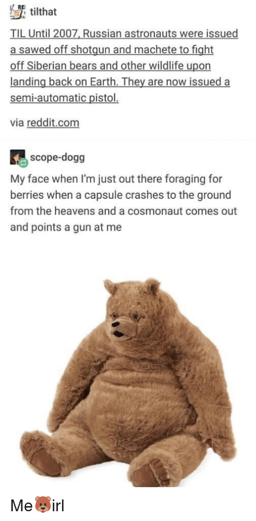 Reddit, Bears, and Earth: RE  tilthat  TIL Until 2007, Russian astronauts were issued  a sawed off shotgun and machete to fight  off Siberian bears and other wildlife upon  landing back on Earth. They are now issued a  semi-automatic pistol.  via reddit.com  scope-dogg  My face when I'm just out there foraging for  berries when a capsule crashes to the ground  from the heavens and a cosmonaut comes out  and points a gun at me Me🐻irl