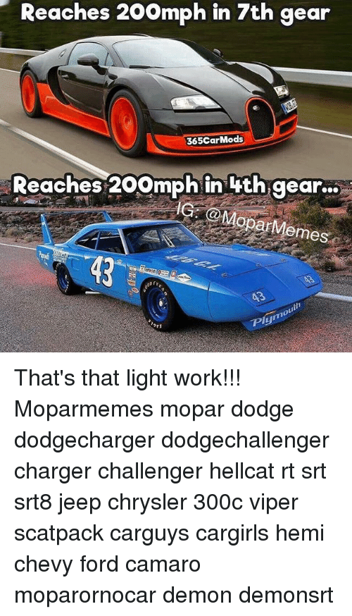 "Memes, Work, and Camaro: Reaches 20omph in 7th gear  365CarMods  Reaches 200mph in 4th gear...  ar  Memes  Ply"" That's that light work!!! Moparmemes mopar dodge dodgecharger dodgechallenger charger challenger hellcat rt srt srt8 jeep chrysler 300c viper scatpack carguys cargirls hemi chevy ford camaro moparornocar demon demonsrt"
