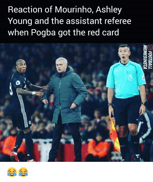 red card: Reaction of Mourinho, Ashley  Young and the assistant referee  when Pogba got the red card 😂😂