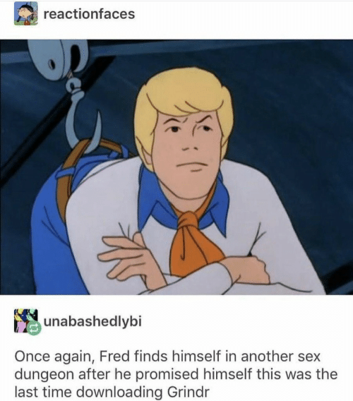 Sex, Grindr, and Time: reactionfaces  unabashedlybi  Once again, Fred finds himself in another sex  dungeon after he promised himself this was the  last time downloading Grindr