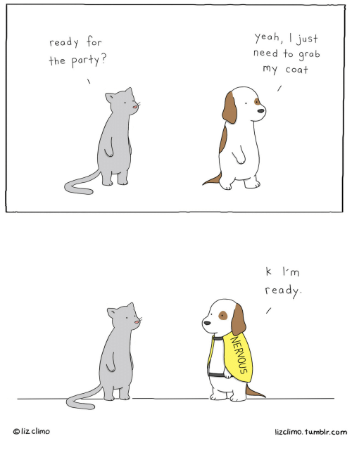 Lizclimo Tumblr: ready for  the party?  yeah, I just  need to qrab  my coat  k l'm  read  O liz climo  lizclimo. tumblr.com