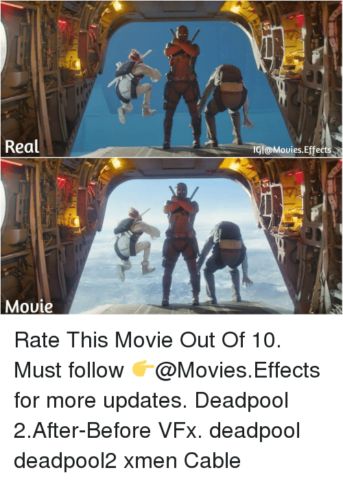 xmen: Real  IGl@Mouies.Effects  Mouie Rate This Movie Out Of 10. Must follow 👉@Movies.Effects for more updates. Deadpool 2.After-Before VFx. deadpool deadpool2 xmen Cable