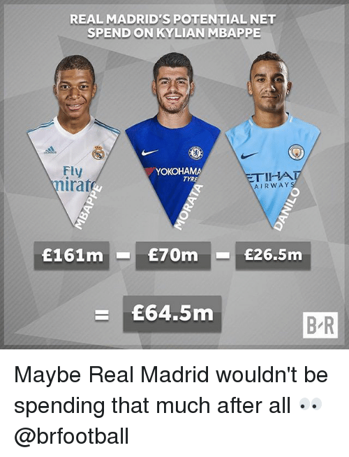 tyre: REAL MADRID'S POTENTIAL NET  SPEND ON KYLIAN MBAPPE  Fly  irat  YOKOHAMA  ETIHA  AIRWAY  TYRE  £161m£70m £26.5m  £64.5m  B/R Maybe Real Madrid wouldn't be spending that much after all 👀 @brfootball