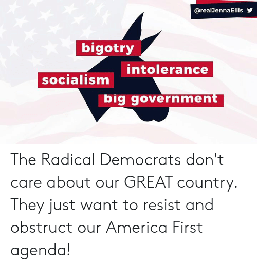 America, Socialism, and Bigotry: @realJennaEllis  bigotry  intolerance  socialism  big government The Radical Democrats don't care about our GREAT country. They just want to resist and obstruct our America First agenda!
