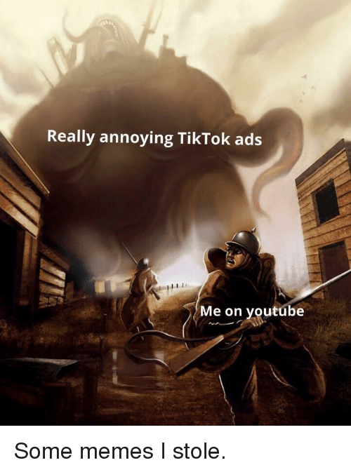 Memes, youtube.com, and Annoying: Really annoying TikTok ads  Me on youtube Some memes I stole.