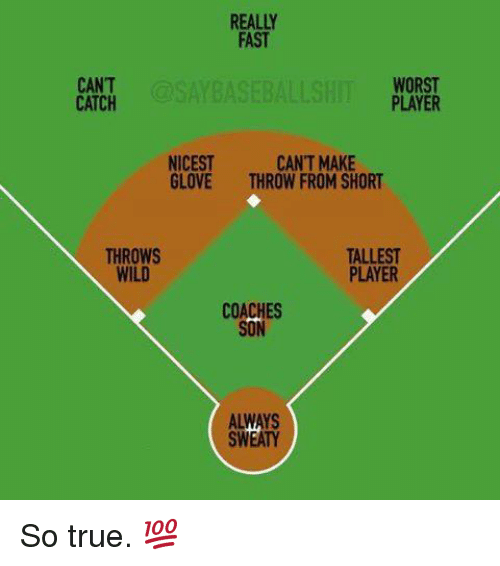 Mlb, True, and Wild: REALLY  FAST  CANT  CATCH  AYBASEBALLSH  WORST  PLAYER  NICEST  GLOVE  CAN'T MAKE  THROW FROM SHORT  THROWS  WILD  TALLEST  PLAYER  COACHES  SON  ALWAYS  SWEATY So true. 💯
