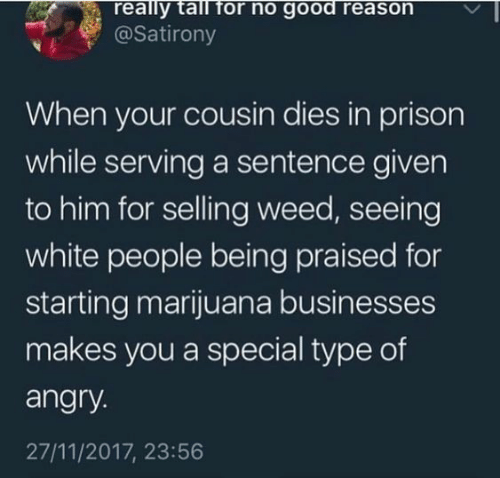 Marijuana: really tall for no good reason  @Satirony  When your cousin dies in prison  while serving a sentence given  to him for selling weed, seeing  white people being praised for  starting marijuana businesses  makes you a special type of  angry.  27/11/2017, 23:56
