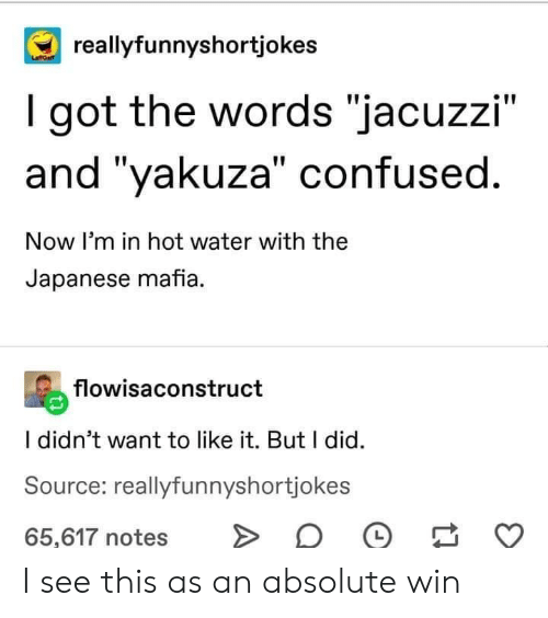 """Confused, Water, and Japanese: reallyfunnyshortjokes  I got the words """"jacuzzi""""  and """"yakuza"""" confused.  Now I'm in hot water with the  Japanese mafia.  flowisaconstruct  I didn't want to like it. But I did  Source: reallyfunnyshortjokes  65,617 notes I see this as an absolute win"""