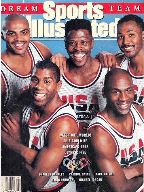 Michael Jordan, Sports, and Watch Out: REAM Sports TEA  lusted  T E A M  ETBALL  WATCH OUT, WORLD!  THIS COULD BE  AMERICAS 1992  OLYMPIC FIVE  CHARLES BARKLEYPATRICK EWING  KARL MALONE  L.1g  JOHNSON MICHAEL JORDAN