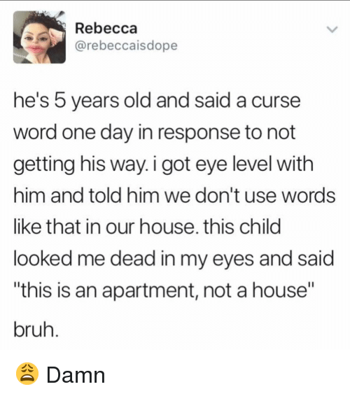 "Curse Word: Rebecca  @rebeccaisdope  he's 5 years old and said a curse  word one day in response to not  getting his way. i got eye level with  him and told him we don't use words  like that in our house. this child  looked me dead in my eyes and said  this is an apartment, not a house""  bruh 😩 Damn"