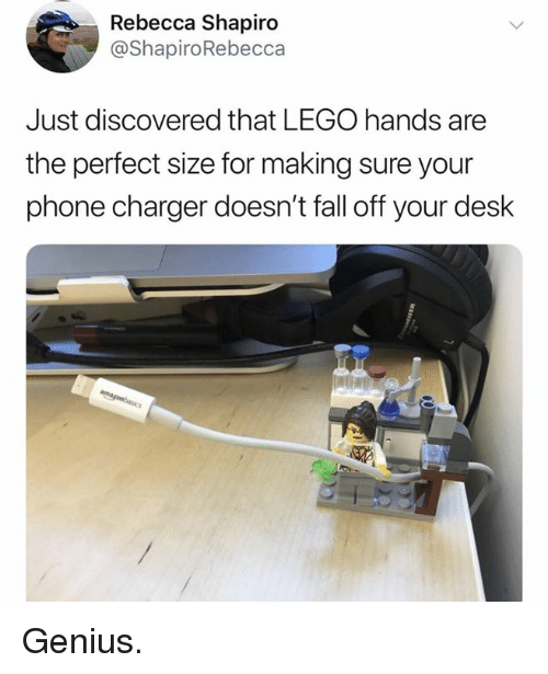 Fall, Lego, and Memes: Rebecca Shapiro  @ShapiroRebecca  Just discovered that LEGO hands are  the perfect size for making sure your  phone charger doesn't fall off your desk Genius.