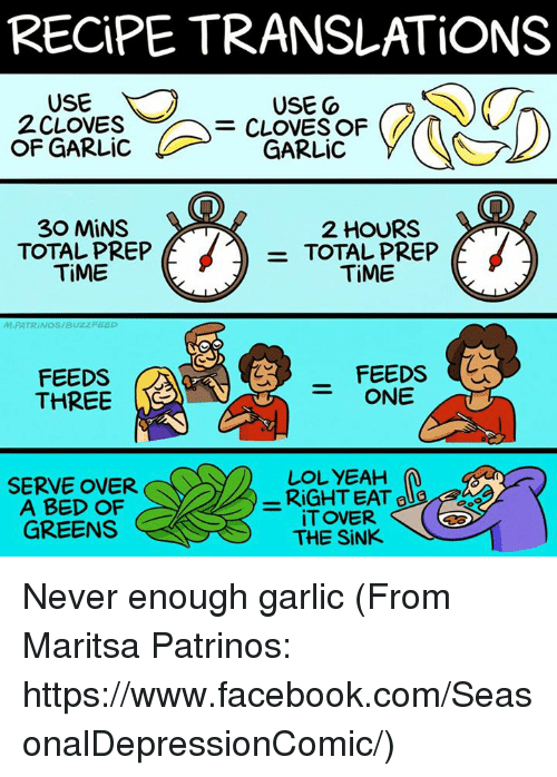cloves: RECiPE TRANSLATIONS  USE Co  2 CLOVES  OF LIC GARLIC  30 MINS  2 HOURS  f  f  TOTAL PREP  TOTAL PREP  TiME  TiME  M.PATRINOS/Buzz FEED  FEEDS  FEEDS  ONE  THREE  LOL YEAH  M  SERVE OVER.  A BED OF  iTOVER.  GREENS  THE SINK Never enough garlic (From Maritsa Patrinos: https://www.facebook.com/SeasonalDepressionComic/)