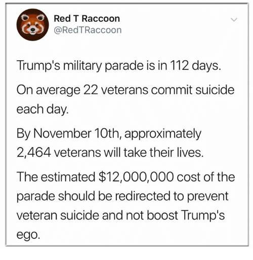Boost, Raccoon, and Suicide: Red T Raccoon  9 @RedTRaccoon  Trump's military parade is in 112 days.  On average 22 veterans commit suicide  each day.  By November 10th, approximately  2,464 veterans will take their lives.  The estimated $12,000,000 cost of the  parade should be redirected to prevent  veteran suicide and not boost Trump's  ego.